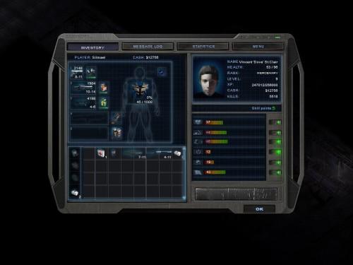 L'interface de gestion du personnage. L'inventaire à gauche, les stats à droite