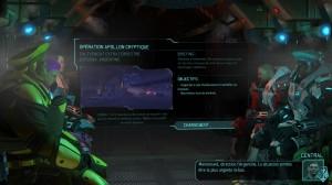 Les écrans de chargement de mission, un briefing dans le véhicule de transport