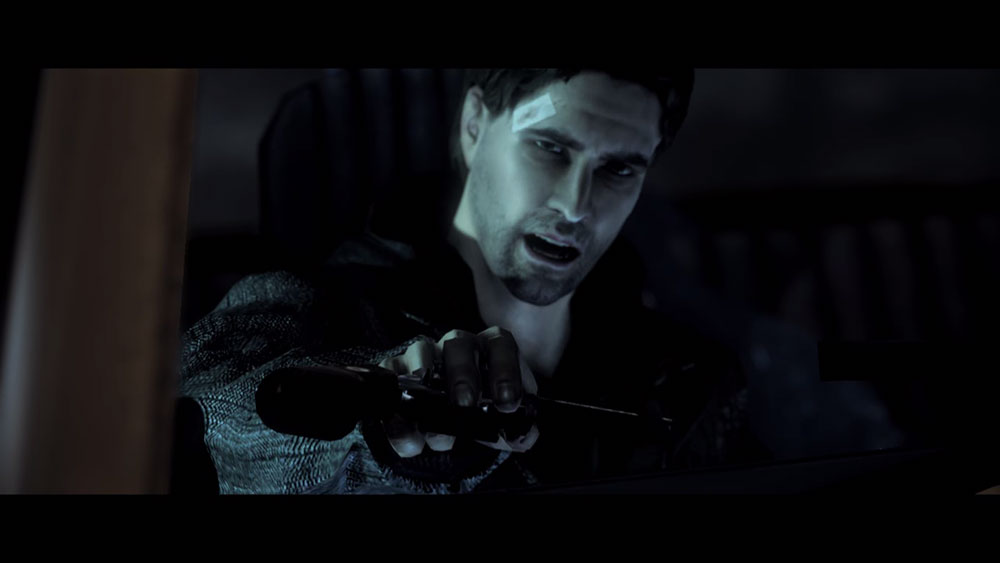 Alan Wake, un flingue, une lampe torche, la face trollesque du jeu